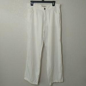 Burberry men's linen white straight leg pants